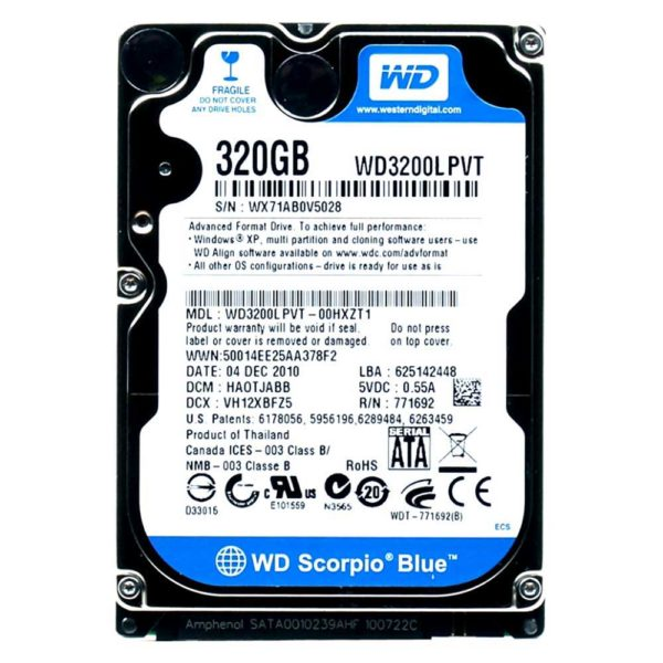 "Накопитель (HDD) 2.5"" 320 Gb WD Scorpio Blue WD3200LPVT 5400 rpm 8 МБ SATAII"