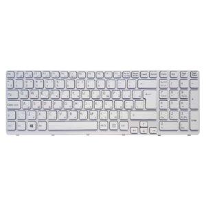 Клавиатура для ноутбука Sony Vaio E15, E17, SVE15, SVE17 White Белая, рамка White Белая (OEM)
