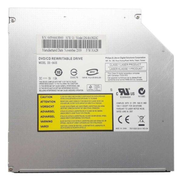 Привод DVD+RW Philips & Lite-on DS-8A3S для ноутбука Asus K40, K40XX, K40AB, K40AF, K40IN, K40IJ, K40IL, X8AS 8x SATA 12.7 мм без панели (DS-8A3S20C) Б/У