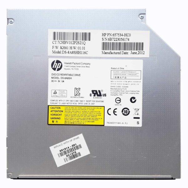 Привод DVD+RW HP DS-8A8SH для ноутбука HP Pavilion g6-2000, g6-2xxx 8x SATA 12.7 мм без панели (DS-8A8SHH116C, 681814-001, 657534-HC0) Б/У