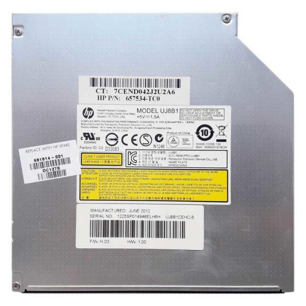 Привод DVD+RW Panasonic UJ8B1 8x SATA 12.7 мм для ноутбука HP g6-2000, g6-2xxx серий, без панели (657534-TC0, 681814-001) Б/У