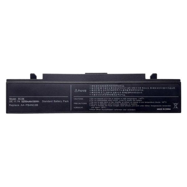 Аккумуляторная батарея для ноутбука Samsung R39, R408, R458, M60, NP-P50, NP-P60, NP-R40 Plus, NP-R40, NP-R45, NP-R65, NP-R70, NP-X60, P210, P210, P460, P50, P560, P60, Q210, Q310, R40, R410, R41, R45, R460, R460, R505, R509, R510, R560, R60, R610, R65, R70, R700, R710, X360, X460, X60, X65, NP-R710, P510, P60 Pro, Q320, R503, R507, R508, NP-R700, NP-R503, NP-R507, NP-R508 DC 11.1V 5200mAh/58Wh с индикацией заряда, Black Черная (AA-PB4NC6B, BC06)