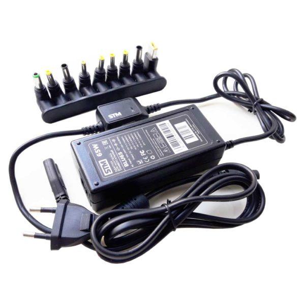 Блок питания, адаптер для ноутбука универсальный STM 65W в комплекте 9 коннекторов + USB 2000 mA для зарядки мобильных телефонов и устройств (BLU65)