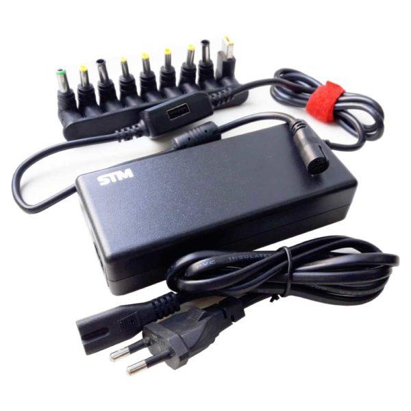 Блок питания, адаптер для ноутбука универсальный STM 90W в комплекте 9 коннекторов + USB 2000 mA для зарядки мобильных телефонов и устройств (BLU90)